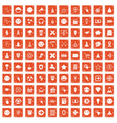 100 interface pictogram icons set grunge orange vector image