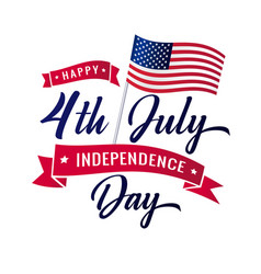 4th july independence day usa lettering vector