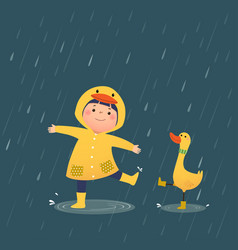 a happy little girl and duck vector image