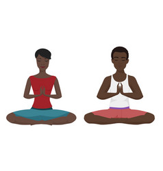 African american couple yoga vector