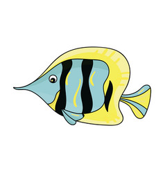 angel fish icon in cartoon style isolated on white vector image