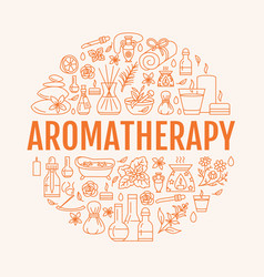 Aromatherapy and essential oils circle template vector