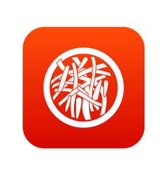 Asian salad icon digital red vector