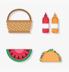 Basket watermelon taco sauces picnic vector