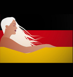 beautiful german woman integrated in flag of vector image