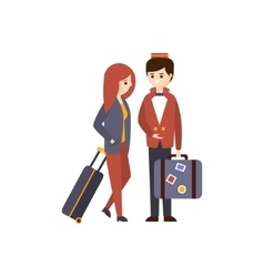 Bellhop Helping A Female Guest With Luggage Hotel vector