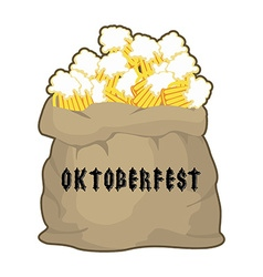 Big sack with mug beer for Oktoberfest Gift for vector image