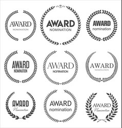 Black award signs with laurel wreath isolated vector