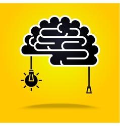 black brain on yellow vector image