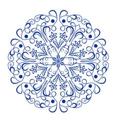Blue ceramics design ornamental circle patterns vector