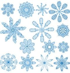 blue circular ornament set vector image