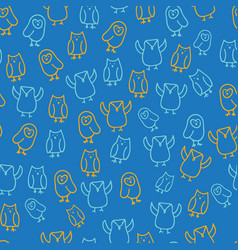 blue orange cute owl seamless pattern vector image