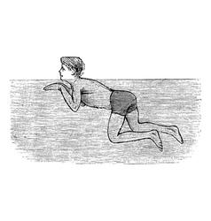 Breaststroke vintage engraving vector image