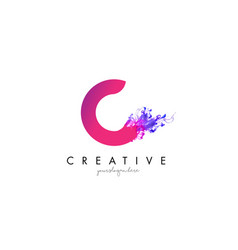 C letter logo design with ink cloud flowing vector