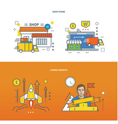 Career growth and shopping store vector