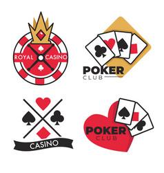 Casino club isolated icons gambling blub emblems vector