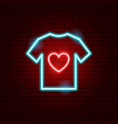 charity t-shirt neon sign vector image