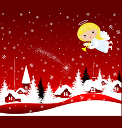 christmas angel in the sky on christmas eve vector image
