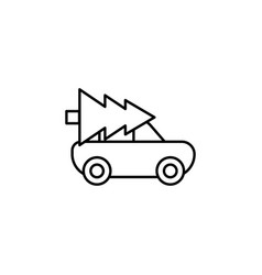 christmas tree car take away icon vector image