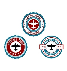 Circular badges for airplane tours vector