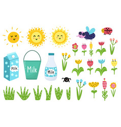 Clipart set with funny elements - sun fly vector
