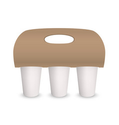 Coffee cup takeaway pack holder mockup 3d vector