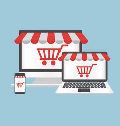 Computer concept online shopping vector