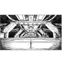 Concept art cartoon drawing of abstract sci fi vector
