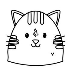 cute cat face cartoon icon thick line vector image