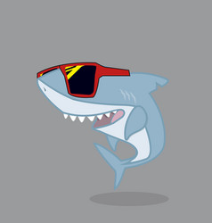 Cute shark cartoon character with glasses vector