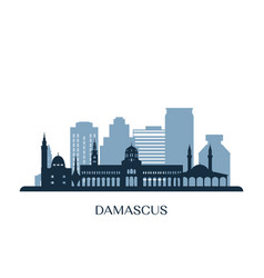 damascus skyline monochrome silhouette vector image