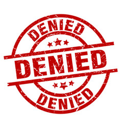 Denied round red grunge stamp vector