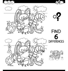 differences color book with insects vector image
