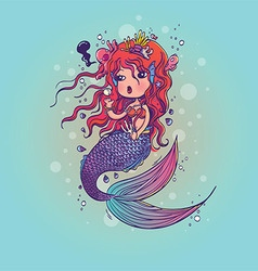 Doodle Mermaid Under the Sea Cartoon Character vector image