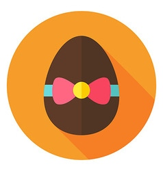 Easter Egg with Bow Knot Circle Icon vector image
