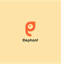 elephant and letter e symbol design vector image