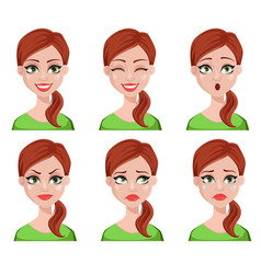 Face expressions of cleaner woman vector
