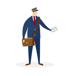 faceless male character postman delivering mail vector image