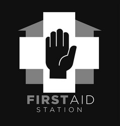 first aid station cross and human hand house vector image