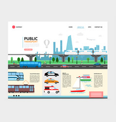 flat city transport landing page template vector image