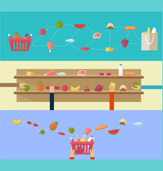 food products concept shopping in the supermarket vector image