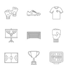 Football icons set outline style vector