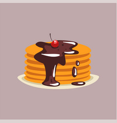 fresh tasty pancakes with chocolate and cherry on vector image
