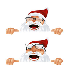 funny cartoon santa claus in a red hat and vector image