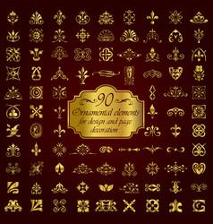 golden ornamental elements for design vector image