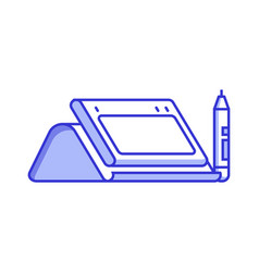 Graphic drawing tablet with stylus icon vector