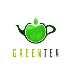 green tea logo template vector image