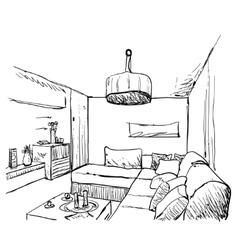 Hand drawn room interior sketch vector image