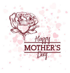 happy mothers day flower sketch heart background vector image
