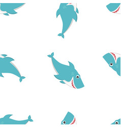 happy shark pattern cartoon vector image